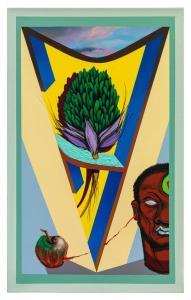 """Título: Antônio TelesTécnica: Acrílica e spray sobre tela - 50 x 80 cm.Obra feita por Michel Cena7 para o """"Enciclopédia Negra"""".Divulgação"""