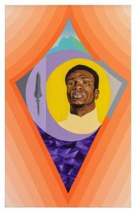 """Título: CurunkangoTécnica: Acrílica e spray sobre tela, 50 x 80 cm.Obra feita por Michel Cena7 para o """"Enciclopédia Negra"""".Divulgação"""
