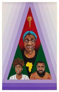 """Título: LiberataTécnica: Acrílica e spray sobre tela - 50 x 80 cm.Obra feita por Michel Cena7 para o """"Enciclopédia Negra"""".Divulgação"""